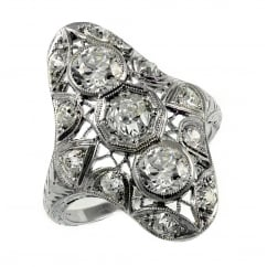 Preowned platinum 2.12ct Victorian old cut diamond dress ring.