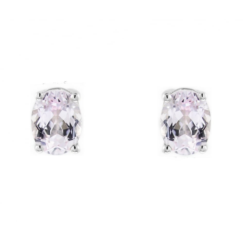 Preowned Platinum 9mm X 7mm Kunzite Stud Earrings