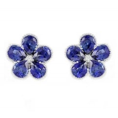 18ct white gold 1.34ct blue sapphire & diamond cluster earrings