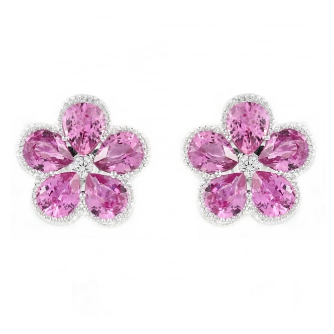 Sheldon Bloomfield 18ct white gold 1.35ct pink sapphire & diamond cluster earrings