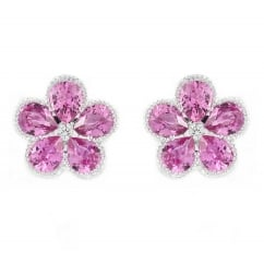 18ct white gold 1.35ct pink sapphire & diamond cluster earrings