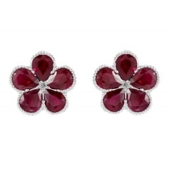 18ct white gold 1.41ct ruby & diamond cluster earrings