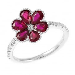 18ct white gold 1.53ct ruby & 0.20ct diamond flower cluster ring