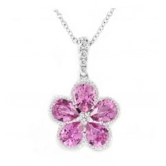 18ct white gold 1.68ct sapphire & diamond flower cluster pendant