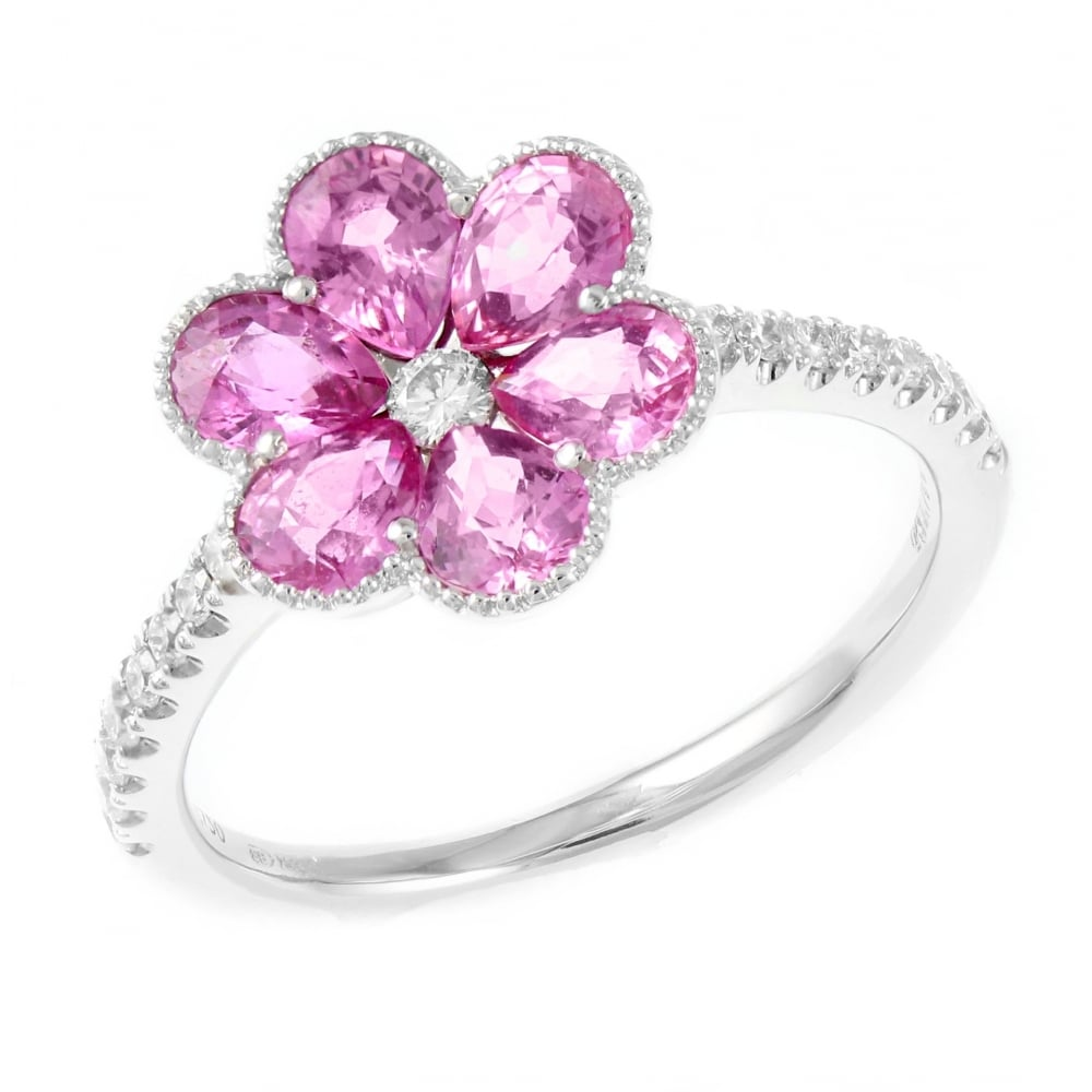 Sheldon Bloomfield 18ct white gold 1.70ct pink sapphire diamond ...