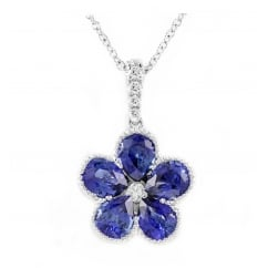 18ct white gold 1.87ct sapphire diamond flower cluster pendant.