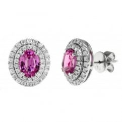 18ct white gold 2.18ct pink sapphire & 0.65ct diamond earrings
