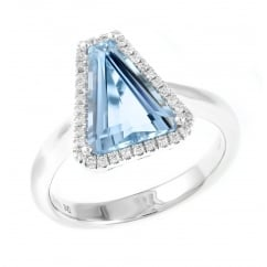 18ct white gold 2.23ct aquamarine & 0.14ct diamond cluster ring.