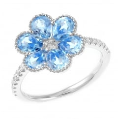 18ct white gold 2.41ct blue topaz & diamond flower cluster ring.