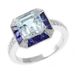 18ct white gold aquamarine, sapphire & diamond cluster ring.