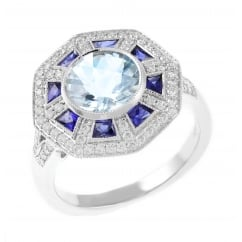 18ct white gold aquamarine, sapphire, diamond cluster ring.