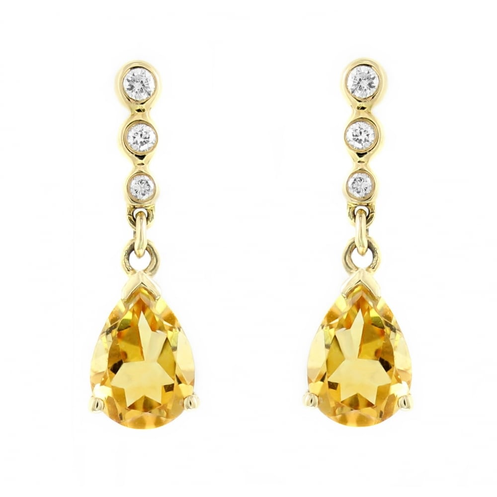 18ct Yellow Gold 7x5mm Citrine 0 05ct Diamond Drop Earrings