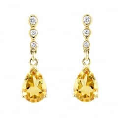 18ct yellow gold 7x5mm citrine & 0.05ct diamond drop earrings
