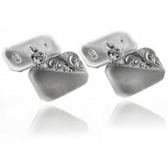 Silver octagonal polished engraved chain link cufflinks.