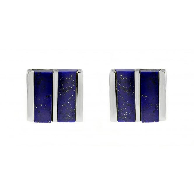 Silver square lapis swivel cufflinks.