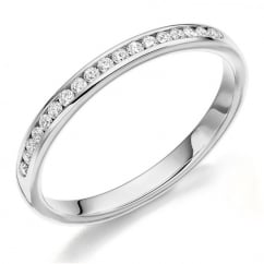 Platinum 0.15ct round brilliant H SI diamond half eternity ring.