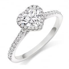 Platinum 0.50ct D VVS1 IGI heart cut diamond halo ring